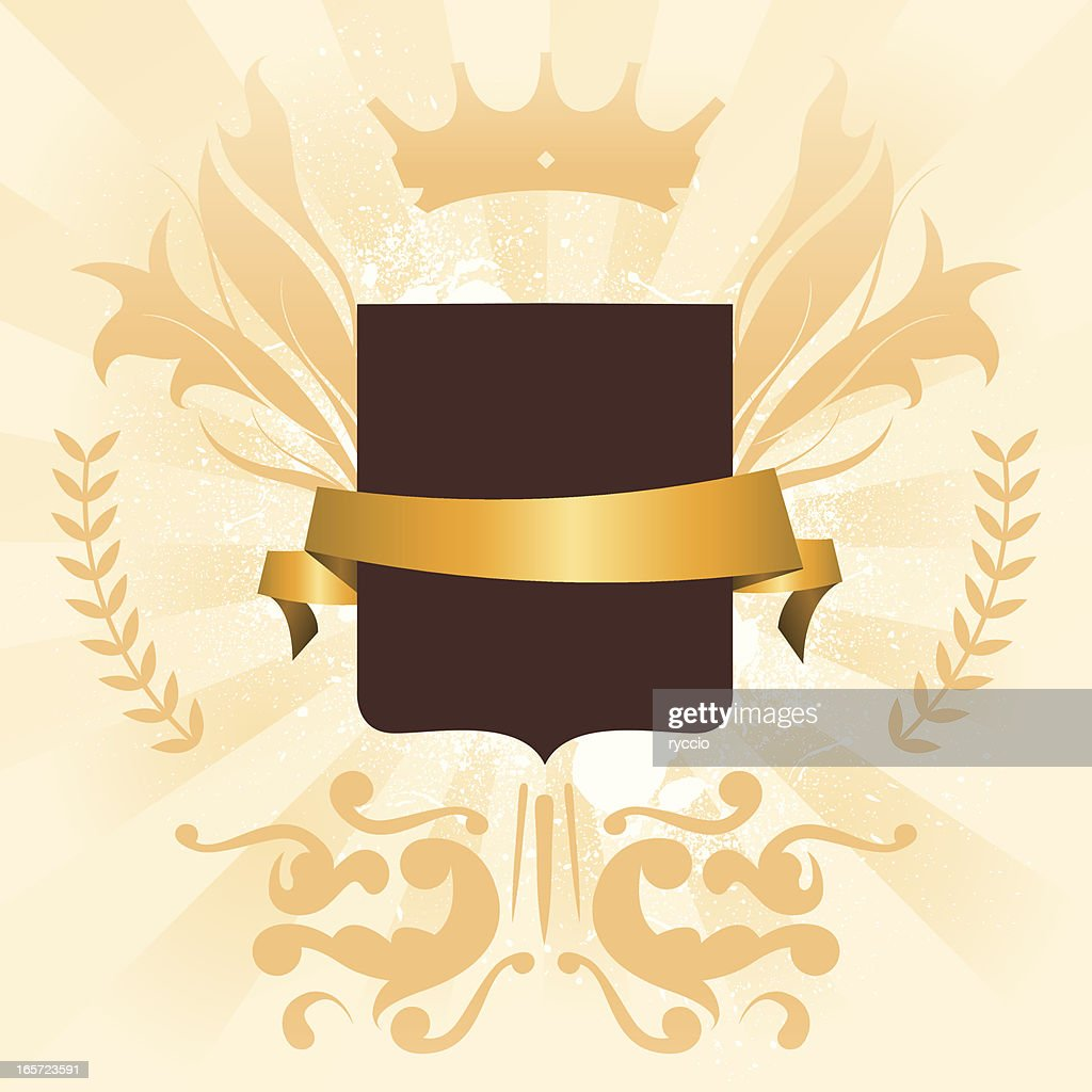 Golden Coat Of Arms Design Element stock illustration
