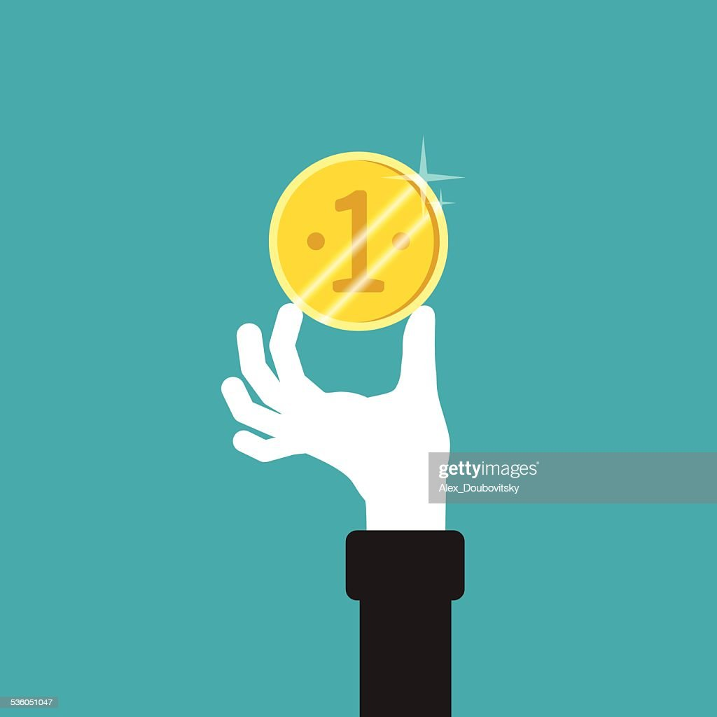 Golden coin in hand vector concept in flat style