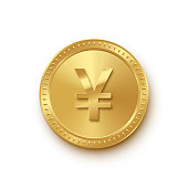 Golden coin with yuan symbol isolated on white background. Vector finance icon.