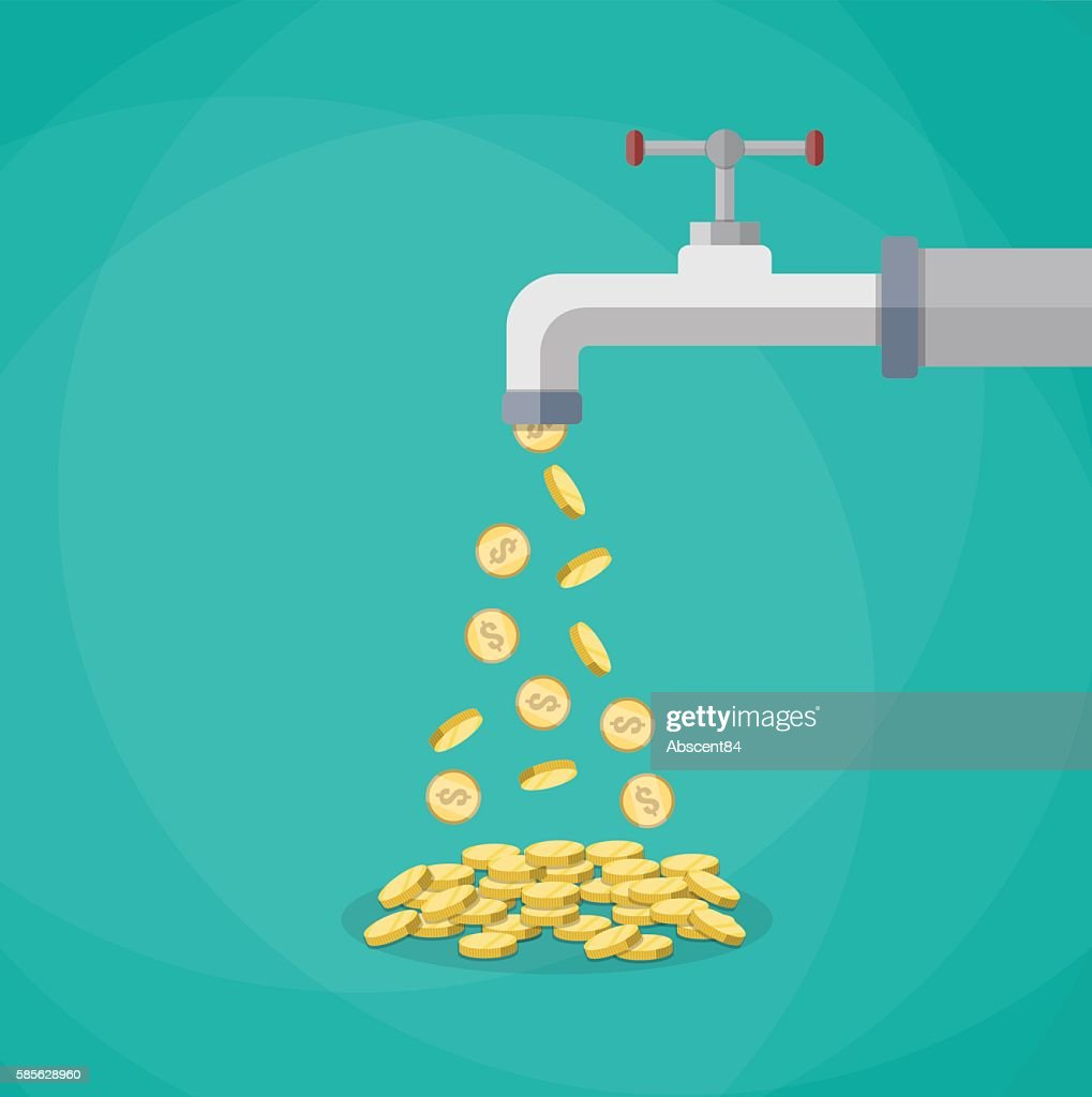 Golden coins fall out of the metal tap