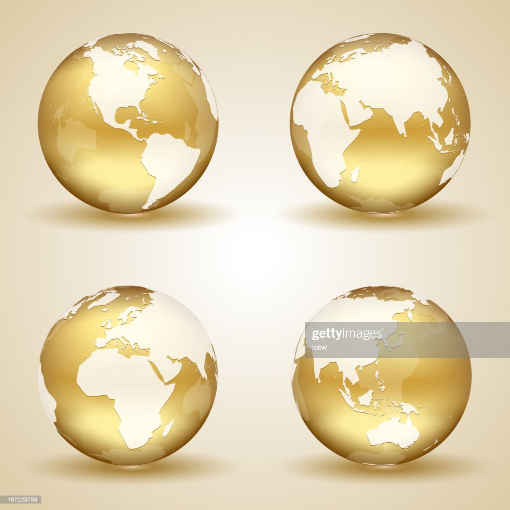 A golden colored globe from four angles