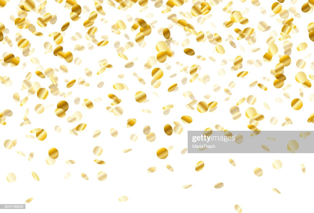 Golden confetti background. Seamless horizontal.