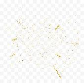 Golden confetti isolated. Festive vector illustration
