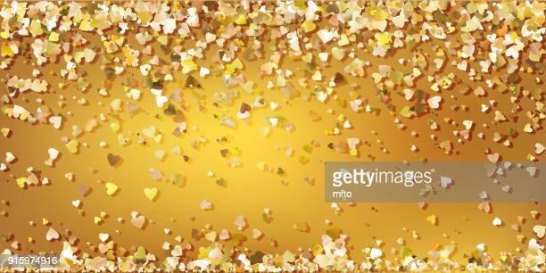 golden confetti - beating heart stock illustrations