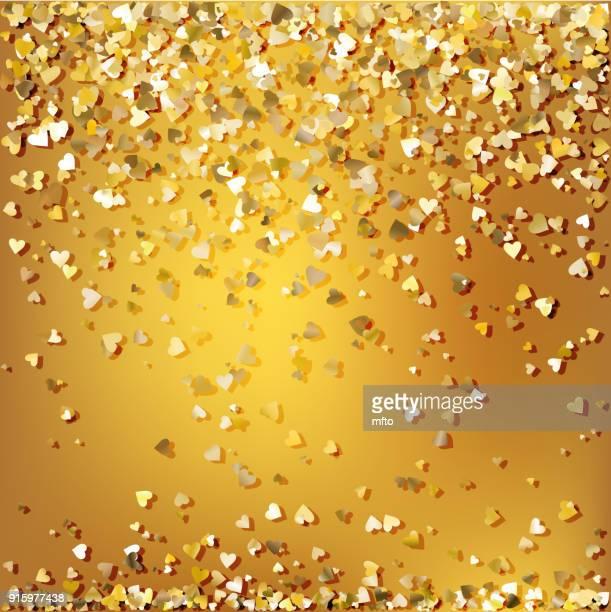 golden confetti - gala stock illustrations