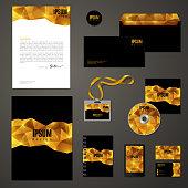 Golden corporate identity template.
