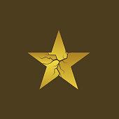 Golden cracked star