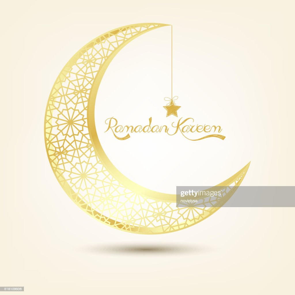 Golden crescent moon on brown background