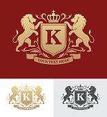 Golden crest design with lions rampant