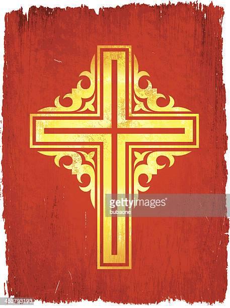 golden cross on red background - celtic cross stock illustrations, clip art, cartoons, & icons