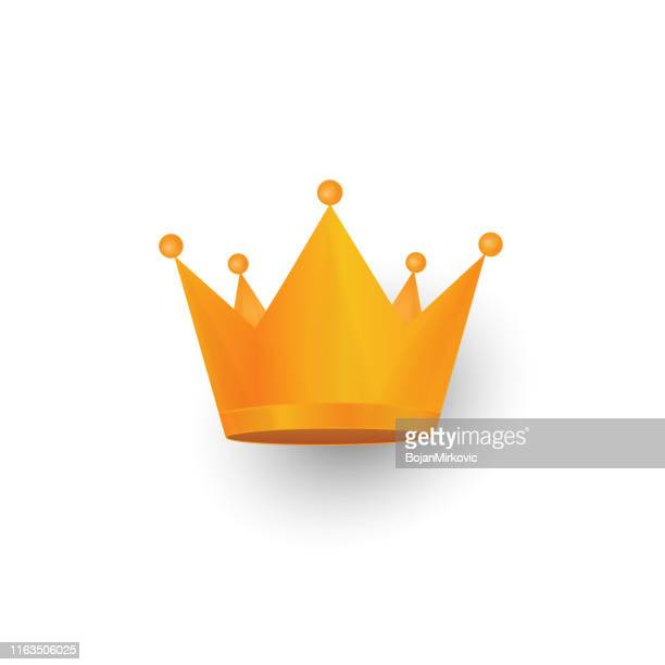 golden crown icon isolated on white background. vector - medieval queen crown stock illustrations