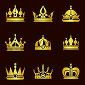 Golden crown set illustration