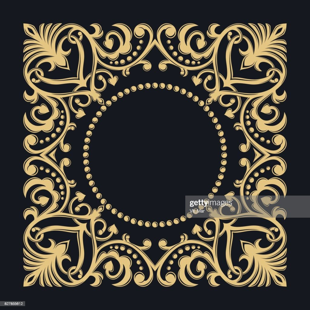 Golden decorative frame. Floral border. Calligraphic ornament. Heraldic symbols. Monogram.