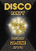 Golden disco ball on black background. Party poster in retro style