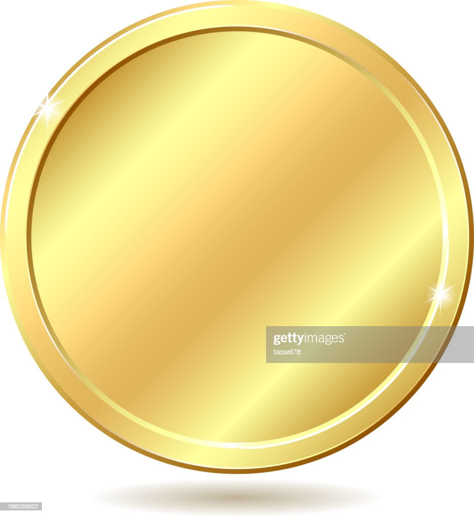 Golden disk, blank for medal or coin, shining in the light
