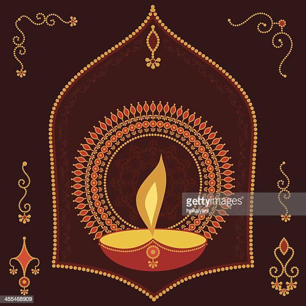ilustrações de stock, clip art, desenhos animados e ícones de golden divali vela - nicho