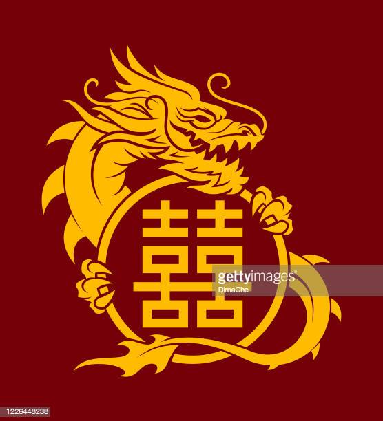 golden dragon with a double happiness sign - medieval shoes stock illustrations