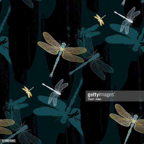 golden dragonflies on dark teal background (seamless pattern kimono style) - odonata stock illustrations, clip art, cartoons, & icons