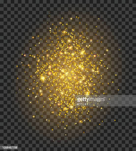 golden dust. glitter background. - lighting equipment stock illustrations, clip art, cartoons, & icons