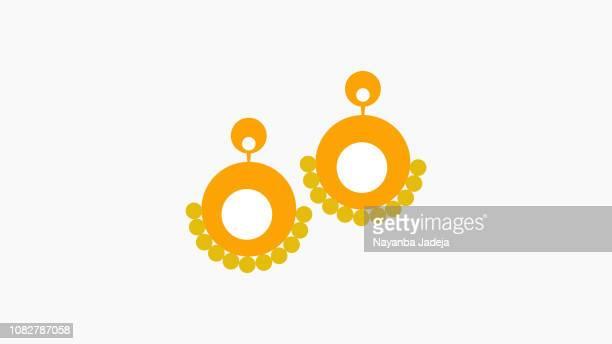 stockillustraties, clipart, cartoons en iconen met gouden oor ringen vector - oorbel