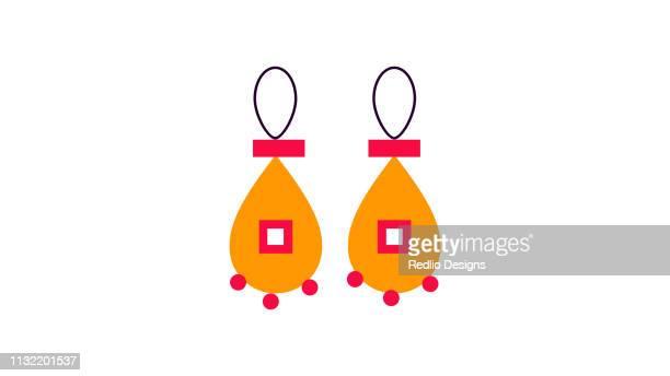 golden earing vector - earring stock illustrations