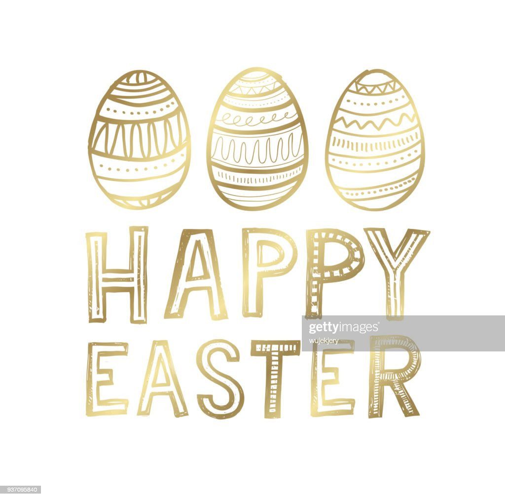 Golden Easter Greeting Cards And Backgrounds Vector Art Getty Images