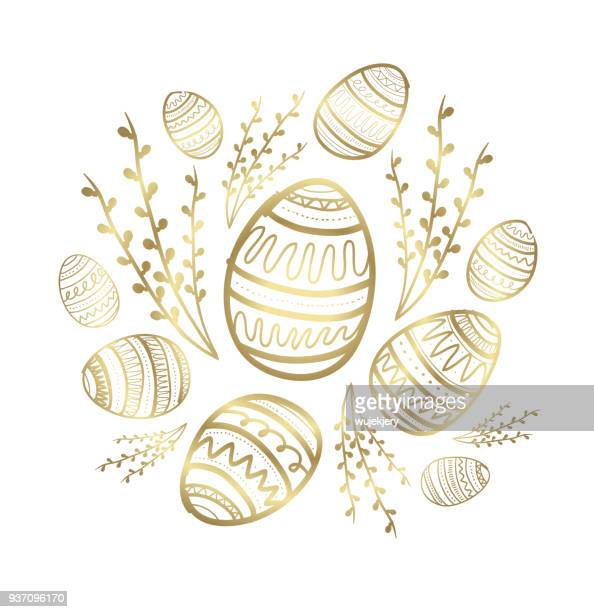 golden easter greeting cards and backgrounds