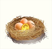 Golden egg and three eggs in a nest