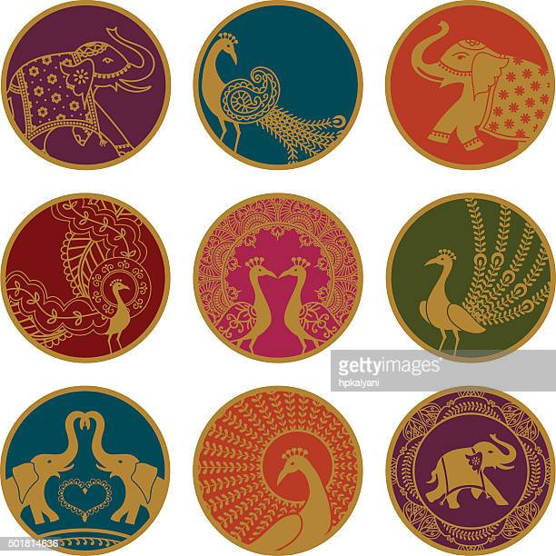 golden elephant and peacock ornaments - indian elephant stock illustrations