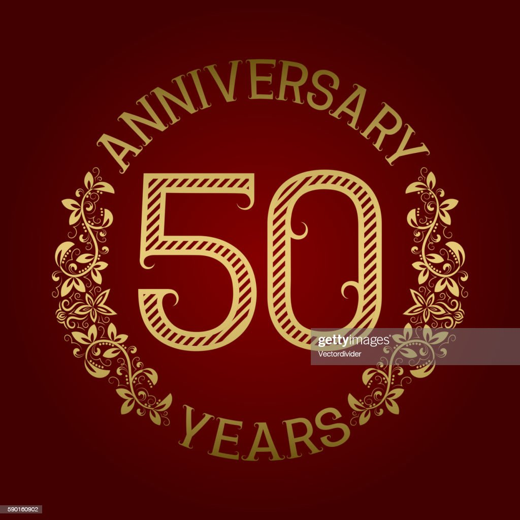 Golden emblem of fiftieth anniversary.