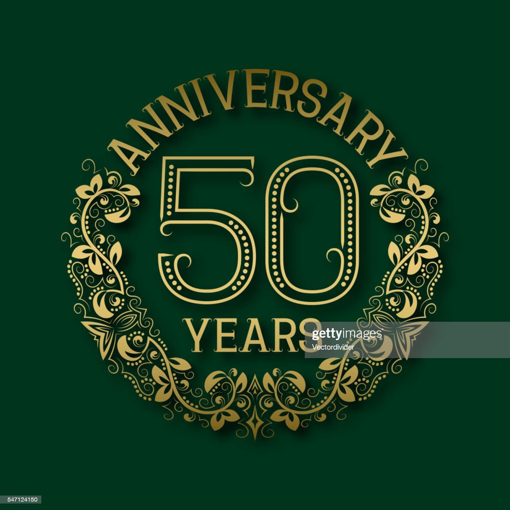 Golden emblem of fiftieth years anniversary.