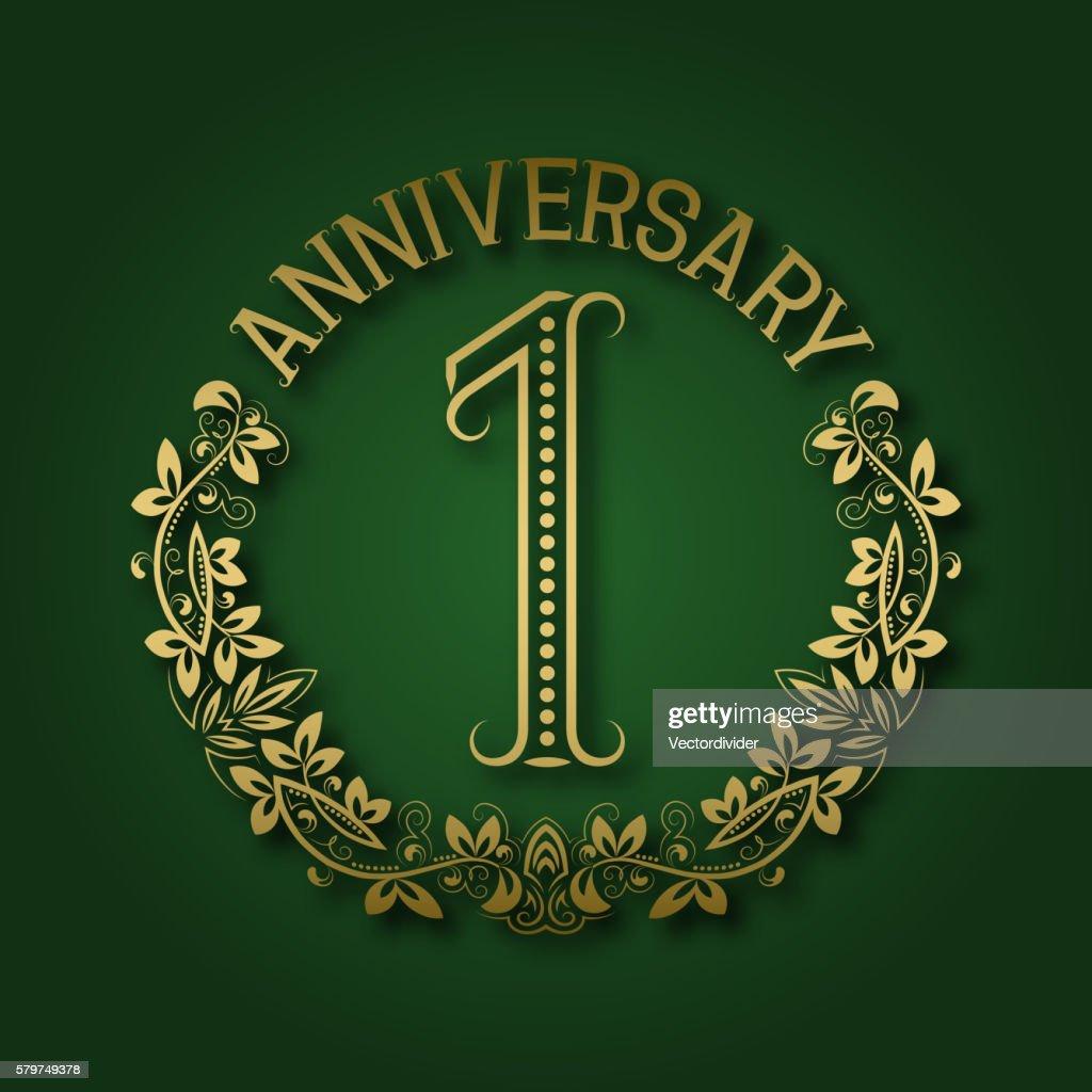 Golden emblem of first anniversary.