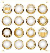 Golden empty white labels retro vintage design collection