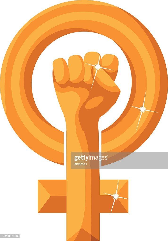 Golden feminist symbol isolated