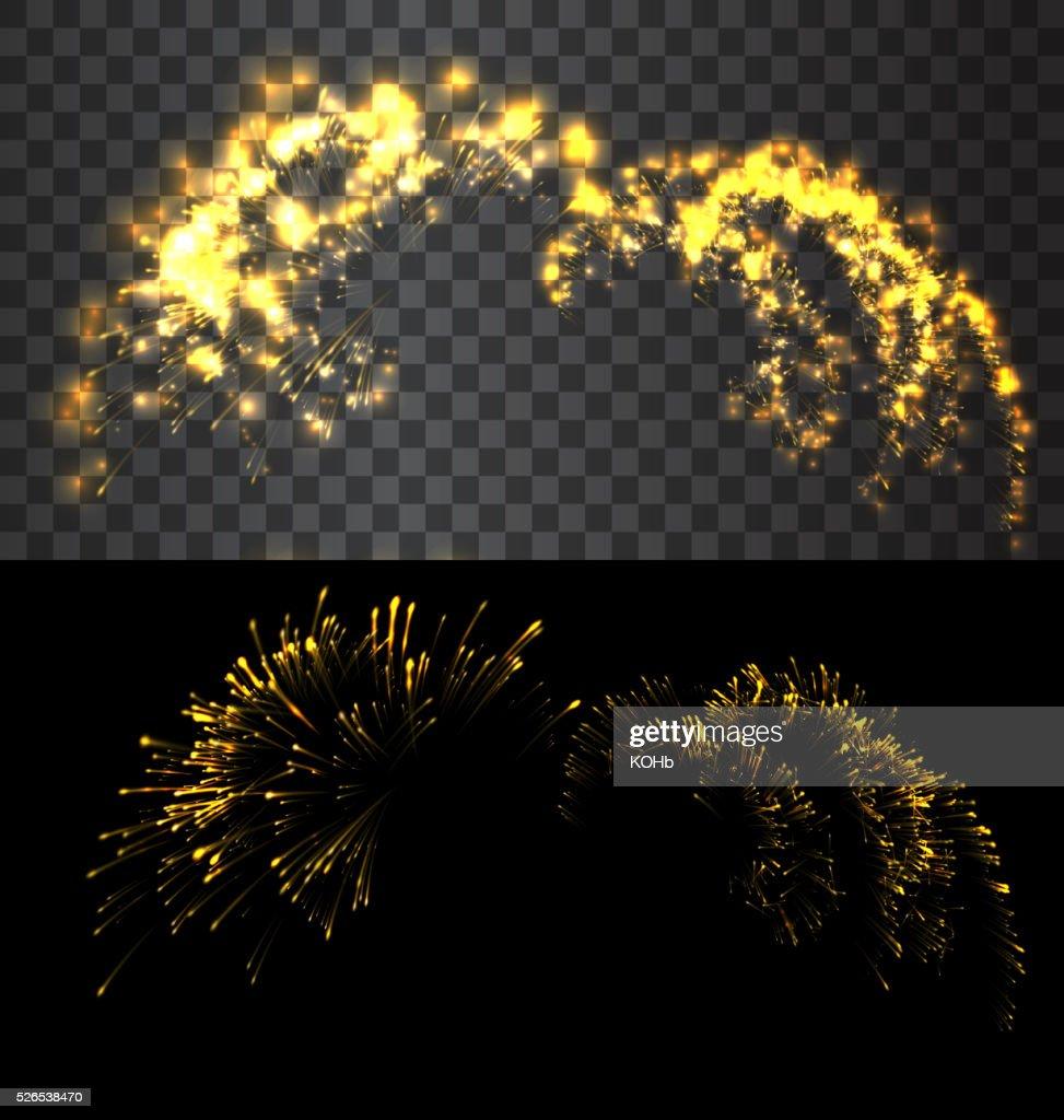 Golden firework exploed on black sky