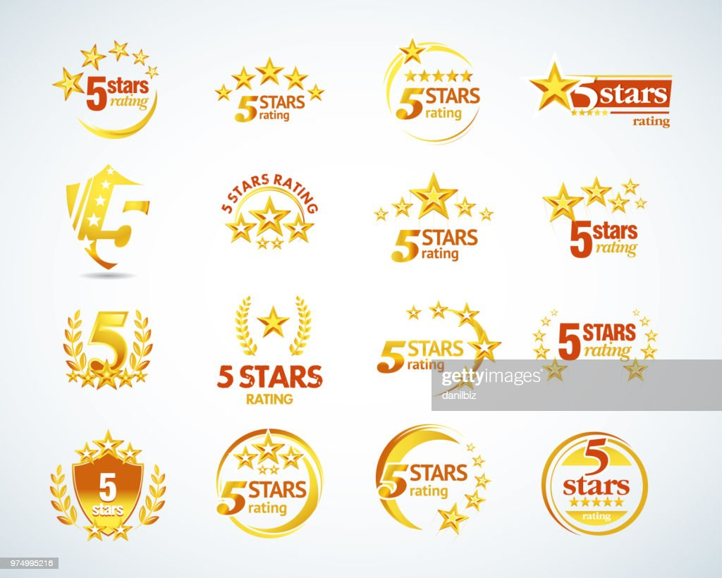 Golden Five stars emblem template set.