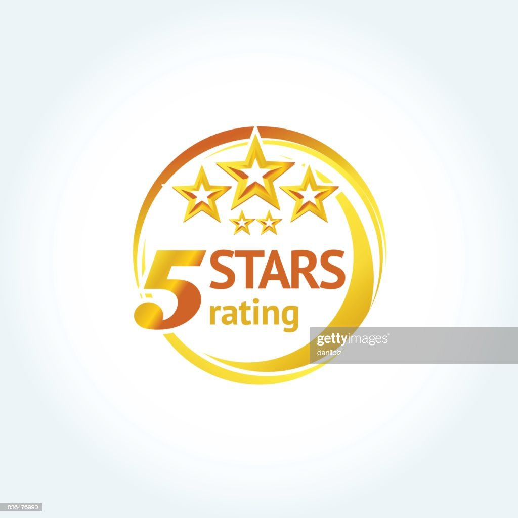 Golden Five stars round emblem template. Isolated Vector illustration