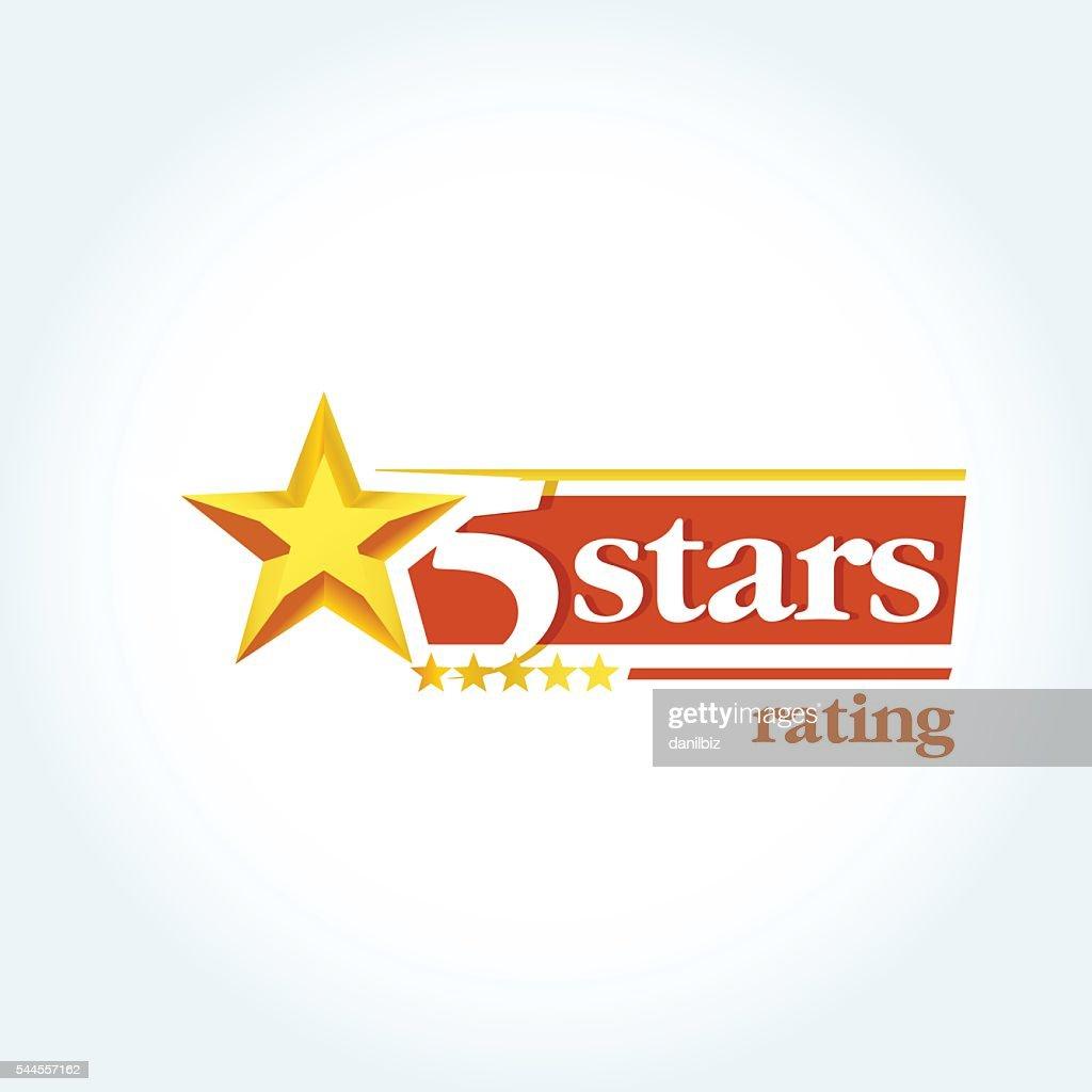 Golden Five stars round emblem template.