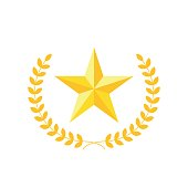 Golden five-pointed star with laurel wreath