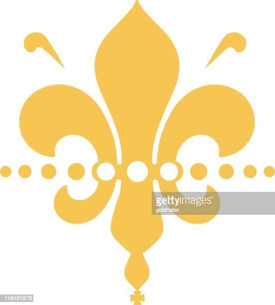 golden fleure de lis - modern roalty - planta de vaso stock illustrations
