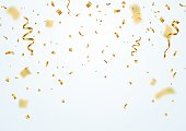 Golden flying blur confetti with motion effect on light white background Template for Holiday vector illustration.