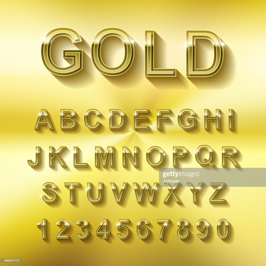golden font design set