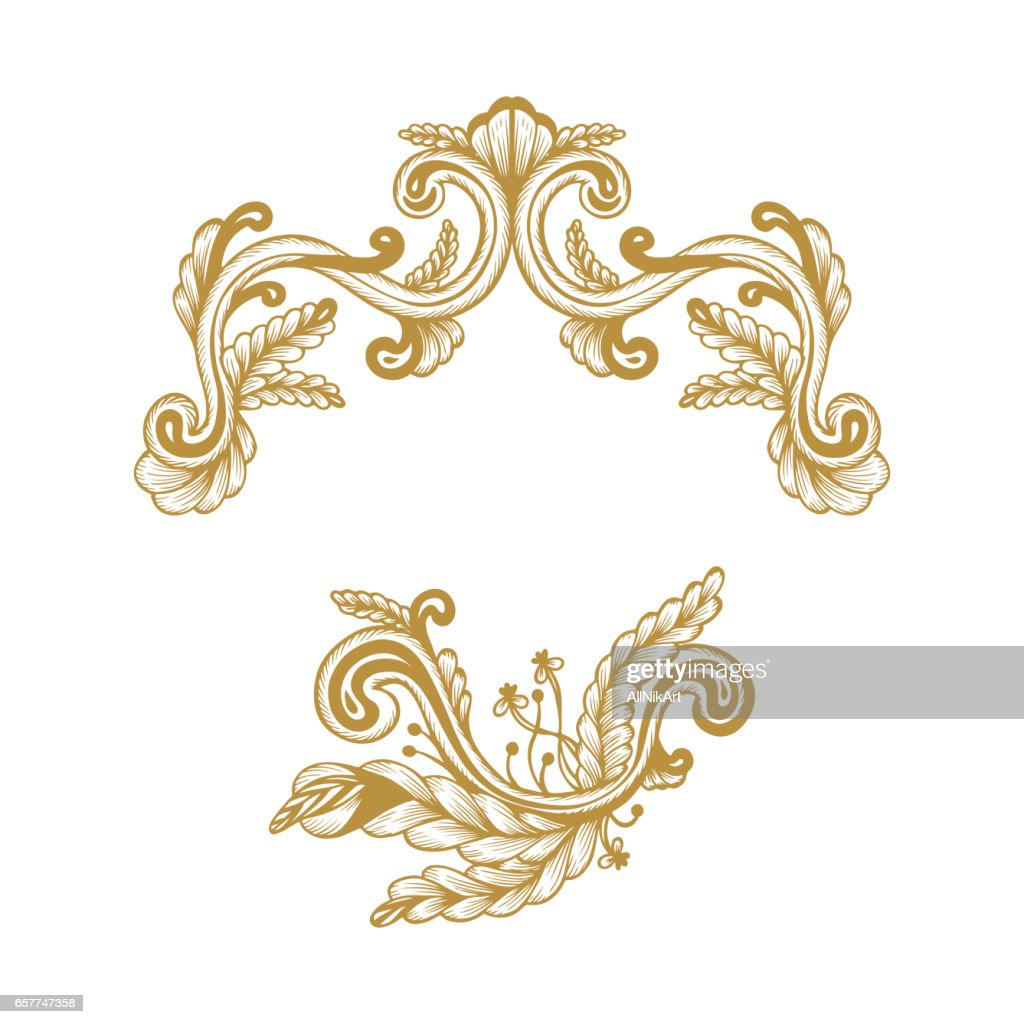 Golden Frame. Hand Drawn Vintage damask ornamental elements for design. Baroque frame scroll ornament. Elegant abstract floral pattern border in antique style. Decorative foliage swirl edging.