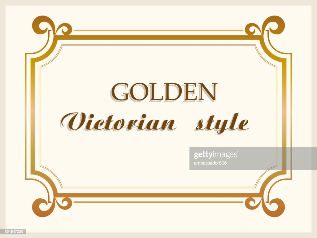 Golden frame luxury Victorian style, floral border decoration. Vector