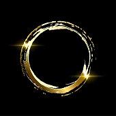 Golden frame made on brush stroke ring isolated on black background. Vector design element.