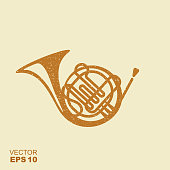 Golden French Horn Icon. Flat vector icon with scuffed effect in a separate layer