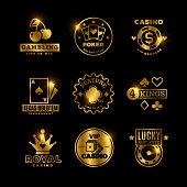 Golden gambling, casino, poker royal tournament, roulette vector labels, emblems, logos and badges