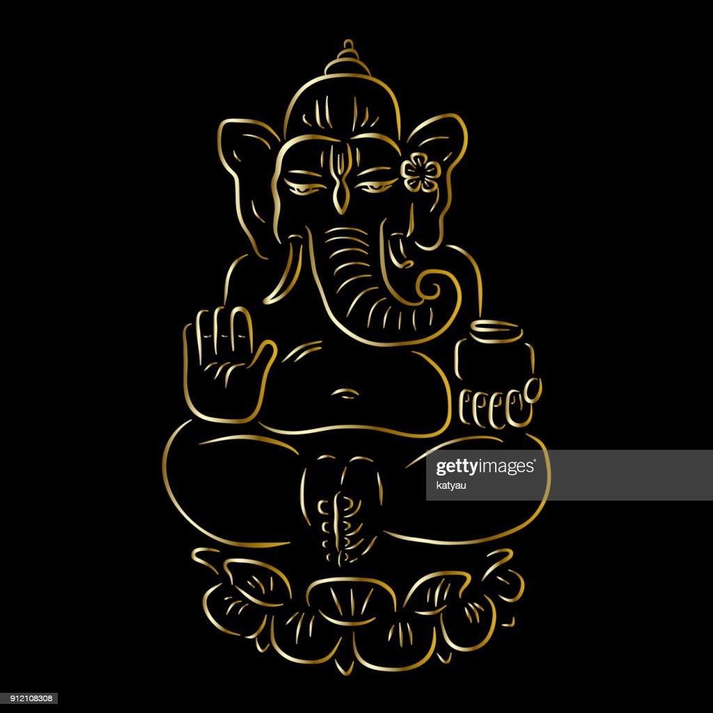 Golden Ganapati Meditation in lotus pose