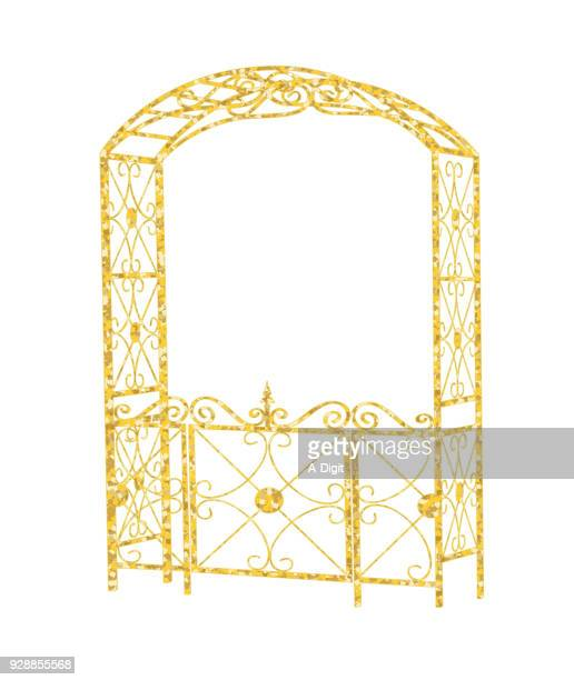 golden garden entrance - private property stock illustrations