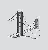 Golden Gate Bridge colored line Illustration